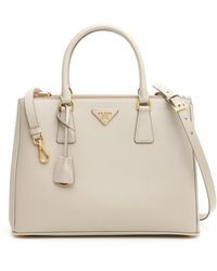 1c4aac3dfce0 Lyst - Prada Saffiano Lux Double Handle Mini Satchel in Natural