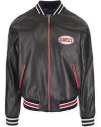 Gucci - Patched Leather Bomber Jacket - Lyst