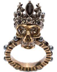 Alexander McQueen - Studded Skull Queen Ring - Lyst