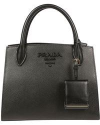 67be4401065d Prada Classic Logo Bucket Tote Bag in Black - Lyst