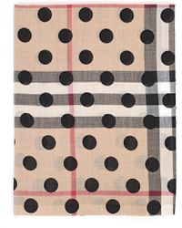 Burberry - Polka Dot House Check Scarf - Lyst