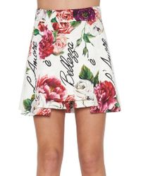 Dolce & Gabbana - Peony Print Structured Mini Skirt - Lyst