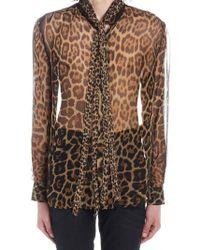 88a94e247fb Saint Laurent Tonal Leopard Print Shirt in Black for Men - Lyst