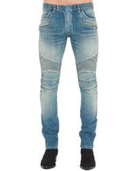 Balmain - Contrasted Biker Jeans - Lyst