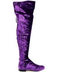 Alberta Ferretti - Thigh-length Velvet Boots - Lyst
