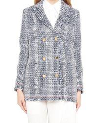 Thom Browne - Double Breasted Tweed Jacket - Lyst