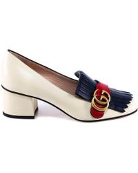 6551b8fc5b2 Lyst - Gucci Marmont Suede Mid-heel Pumps With Crystals in Black