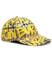 Burberry - Graffiti Print Checked Cap - Lyst