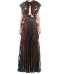 Givenchy - Lamè Cut-out Pleated Dress - Lyst