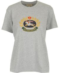Burberry - Archive Crest Embroidered Cotton T Shirt - Lyst
