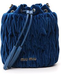 Miu Miu - Matelassé Velvet Bucket Bag - Lyst