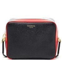 Lyst - Bottega Veneta Striped Leather Pillow Bag in Gray 3ab6ba0300d7a