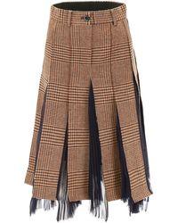 Sacai - Pleated Checked Skirt - Lyst