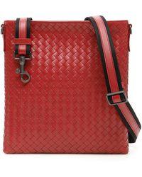 a98f894126 Bottega Veneta Woven Small Messenger Bag in Black for Men - Lyst