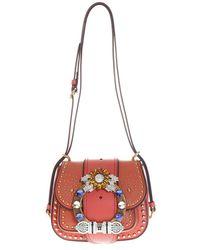 8047d2cd3599 Lyst - Miu Miu Miu Dahlia Star Crossbody Bag Gold in Metallic