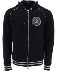 Balmain - Hooded Zip-up Sweatshirt - Lyst