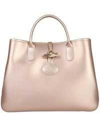 dcb0c62df02a Longchamp Roseau Leather Tote in Gray - Lyst
