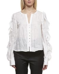 ab1f3871622 Étoile Isabel Marant Erell Silk-chiffon Blouse in White - Lyst
