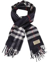 Burberry - Checked Print Fringed Scarf - Lyst