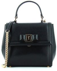 35e2f6373c5e Lyst - Ferragamo Medium Vara Flap Bag in Black