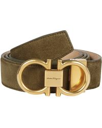 Ferragamo - Suede Logo Buckle Belt - Lyst