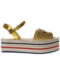 3e6180009 Gucci Metallic Leather Cork Wedge Sandals in Metallic - Lyst