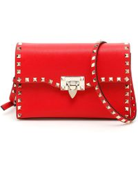 6921f99c96 Valentino Rockstud Leather Lock-Flap Square Shoulder Bag in White - Lyst