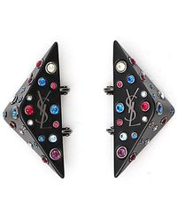 Saint Laurent - Embellished Logo Earrings - Lyst
