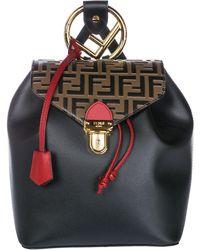 Fendi - Logo Print Backpack In Black & Brown - Lyst