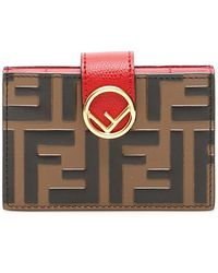 c9bbf3c7 Lyst - Fendi Flowerland Elite Leather Card Case in Red