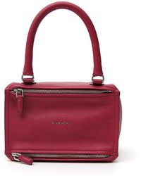 e241a202cb Lyst - Givenchy Pandora Pure Small Leather Satchel Bag in Red