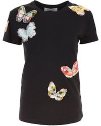 Valentino - Sequin Butterfly Appliques T-shirt - Lyst