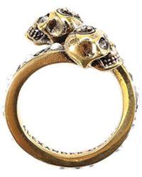 Alexander McQueen - Pearl Embellished Skull Ring - Lyst