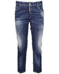DSquared² - Distressed Cropped Boyfriend Jeans - Lyst
