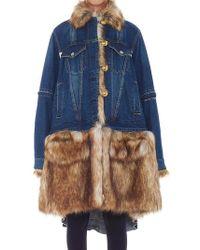 Sacai - Denim Fur Coat - Lyst
