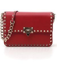 88aa1fa3191a Lyst - Valentino Rockstud Small Chain Shoulder Bag in Red