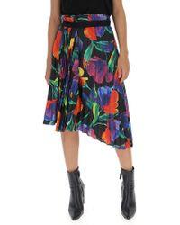 548736e83bde Lyst - Balenciaga Floral-printed Pleated Skirt in Blue