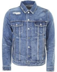 237ee931dc Lyst - Balmain Double Breasted Cotton Denim Jacket in Blue for Men