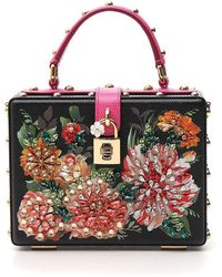Lyst - Dolce   Gabbana Floral-print Textured-leather Tote in Yellow 8ef0f9c17ecb7