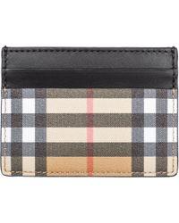 Burberry - Ladies Black Check Vintage Sandon Leather Card Holder - Lyst