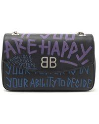 Balenciaga - Bb Chain Graffiti Shoulder Bag - Lyst