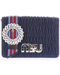 Miu Miu - Matelassé Denim Crossbody Bag - Lyst
