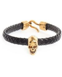 Alexander McQueen - Skull Charm Braided Leather Bracelet - Lyst