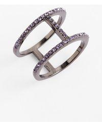 BaubleBar Women'S 'T' Pave Ring - Lavendar/ Hematite - Lyst