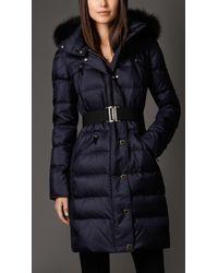Burberry Fur Trim Puffer Coat - Lyst