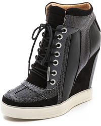 L.A.M.B. - Summer Lace Up Wedge Trainers - Lyst
