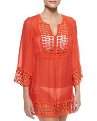 Miguelina Portia Crochet-trim Voile Coverup - Lyst