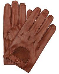 Portolano | Cognac Leather Snap Close Driving Gloves | Lyst