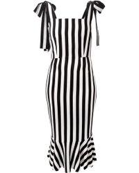 Dolce & Gabbana Striped Stretch-Silk Dress - Lyst