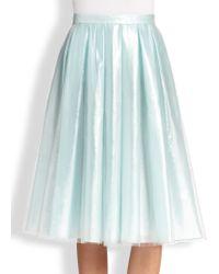 Honor Snake-Embossed Skirt blue - Lyst